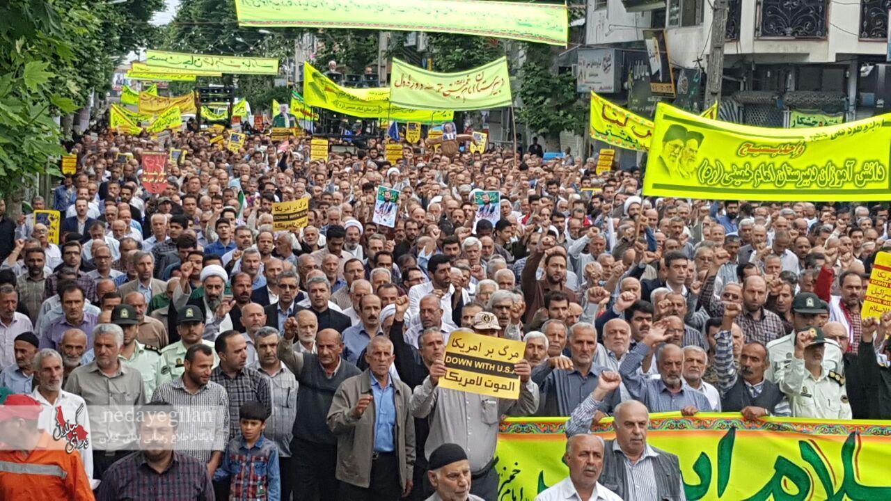 گزارش تصویری شکوه حضور مردم رودسر در راهپیمایی روز قدس