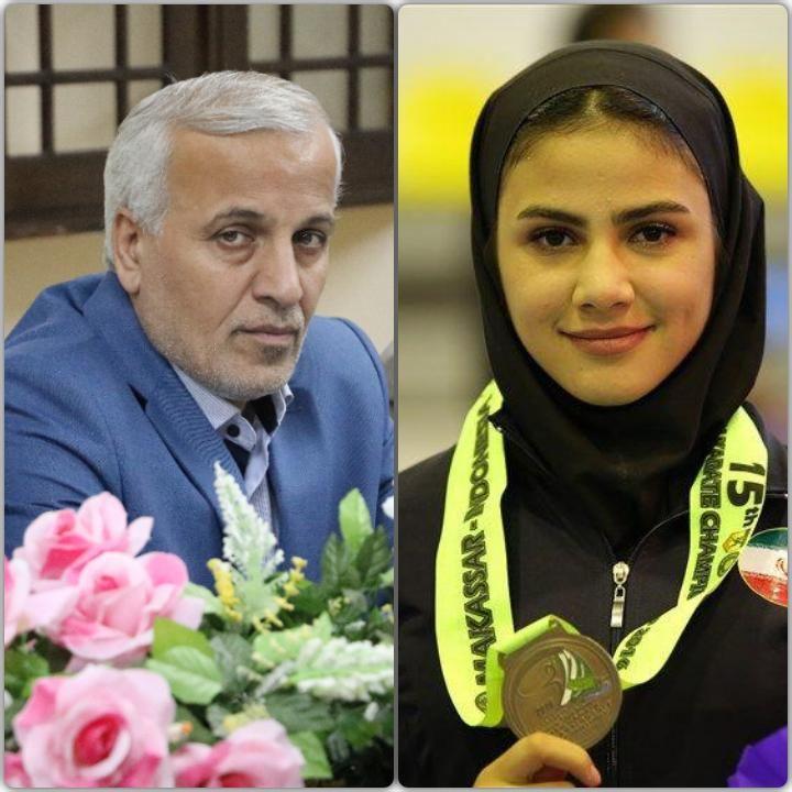 پیام تبریک محمد صادق حسنی به اولین بانوی مدال آور کاراته (بزرگسالان) استان گیلان در رقابت های جهانی
