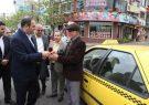 برگزاری مراسم گرامیداشت روز حمل و نقل در لاهیجان/ تقدیر با شاخه گل از رانندگان تاکسی