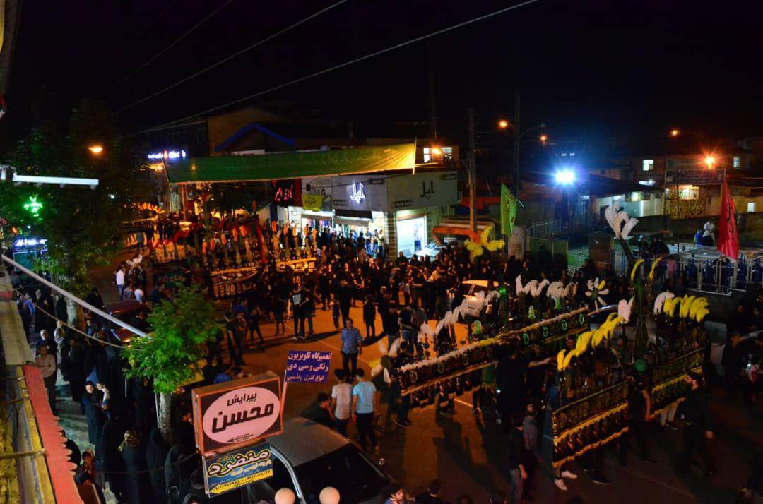 گزارش تصویری برگزاری هیات های علم بران استان گیلان در شب هفتم امام حسین(ع) در شهرستان شفت