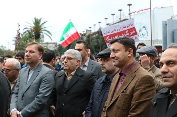 حضور شهردار رشت در حمایت از امنیت و اقتدار کشور