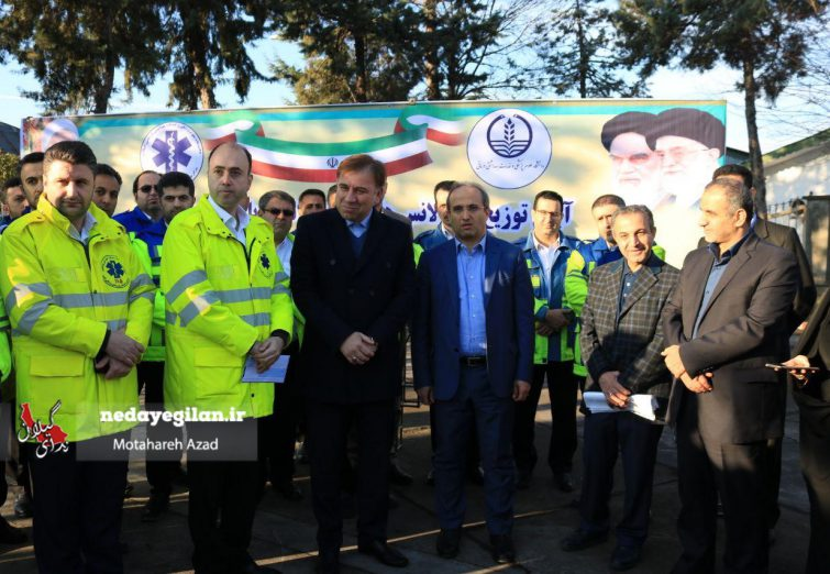 گزارش تصویری آئین الحاق ۱۱ دستگاه آمبولانس به اورژانس گیلان